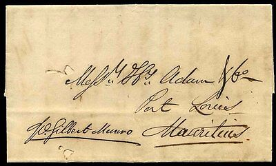 1842 London to MAURITIUS Double Circle Post Office 1/ Charge