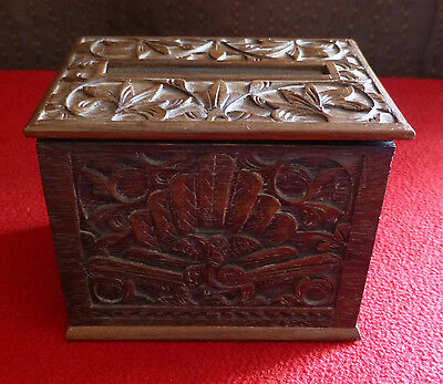 Carved Wooden Pop Up Cigarette Box with Peacock Design