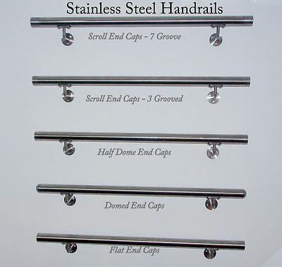 Stainless Steel Handrail 42.4mm Grade 316 with Brackets and 3 Groove End Caps