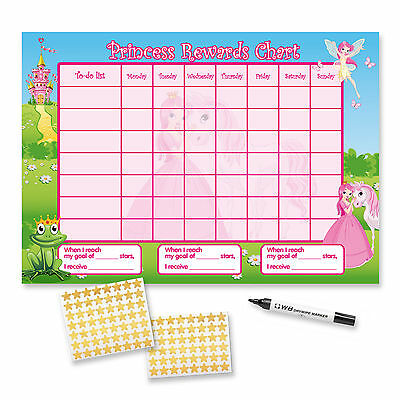 CHILDRENS A3 Princess Reward Chart (including FREE Stickers and Pen)