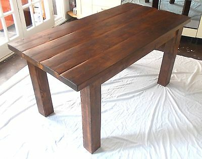 Rustic Solid Wood Plank Kitchen Dining Table -stained in dark oak