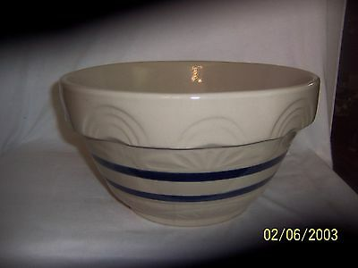 "Rrp Robinson Ransbottom 12"" Mixing Bowl With Blue Stripes Excellent"