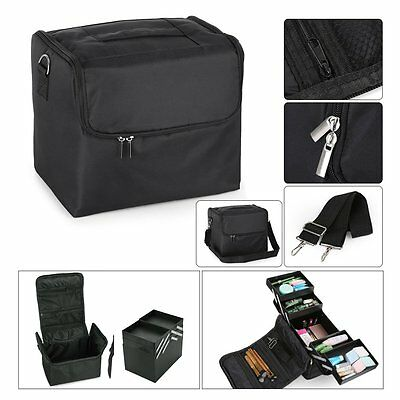 Large Fabric Make Up Bag Nail Tech Cosmetic Box Jewellery Vanity Case Storage