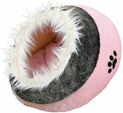 Cat Kitten Warm Cosy Bed Igloo Trixie Minou Cat Bed Pink/Grey 36301 Faux Fur