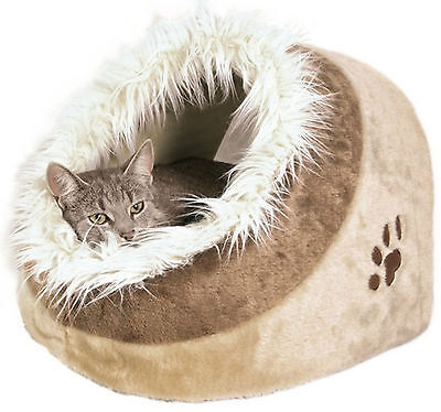 Cat Kitten Warm Cosy Cave Bed Igloo Trixie Minou Cat Bed Beige 36281 Faux Fur