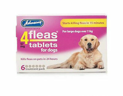Johnsons 4Fleas Tablets For Large Dogs. Dogs Over 11kg 6 Pack Treatment