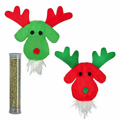 Trixie Reindeer Cat Toy with Pocket for Catnip & Catnip Filled Tube TX924441Red