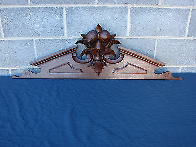 Fancy Antique Victorian Walnut Crest Crown  Pediment Header With Carved Fruit