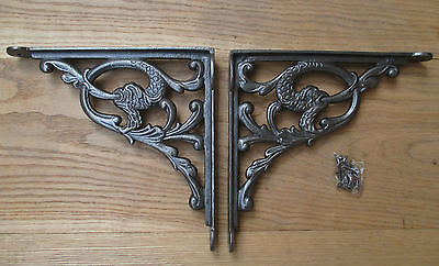 PAIR of Cast Iron Vintage 'The Water Serpent' shelf Bracket Sink Toilet Cistern