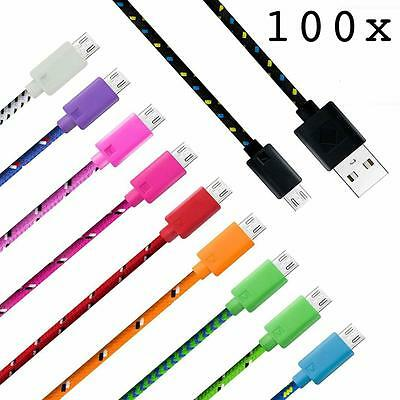 100x LOT 10ft Braided Micro USB Data & Sync Charger Cable Cord For Cell Phones