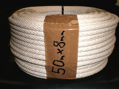 COTTON SASH CORD ROPE 8mm x 50m FREE POSTAGE AUST WIDE