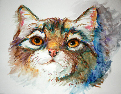 Cat Srudy  Original Watercolor Art  Painting Sherry Shipley
