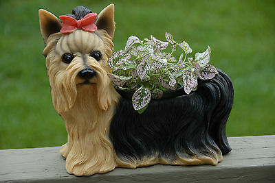 Yorkie Dog Planter Life-Like Poly-Stone Hand Painted Outdoor Indoor Brand NEW