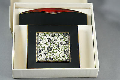 Vtg Rex Fifth Avenue Powder Compact Comb Black Enamel Embossed  Leaf Design