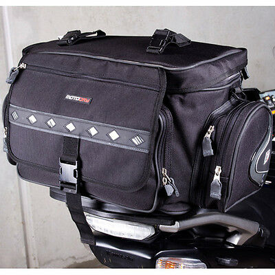 MotoDry NEW Expandable 50L Black Road Adventure Luggage Motorcycle Rear Tail Bag
