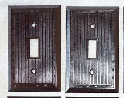 2 Vintage SWITCH PLATE COVERS ART DECO Border Brown NOS USA Plastic