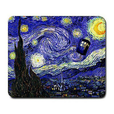 Best New Dr Who Tardis Call Box Van Gogh Starry Night Large Mousepad Mouse Pad
