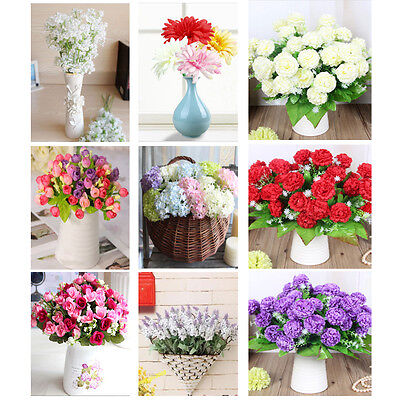 15 Head Artificial Fake Rose Silk Flower Bridal Bouquet Wedding Party Home Decor