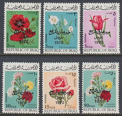Irak Iraq 1970 ** Mi.595/600 Blumen Flowers, black ovpt.