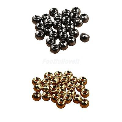 25x Tungsten Slotted Fly Tying Beads Nymph Head Round Ball Beads 2.4/3.3/4/4.6mm