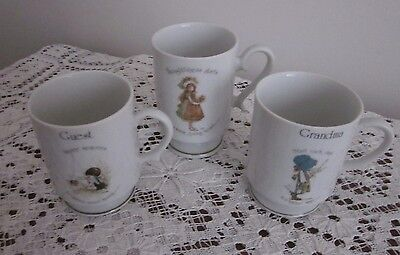 3 Vintage Holly Hobbie Mugs - Guest [Rare] - Grandma - Thoughtfulness Starts