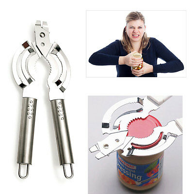 Heavy-Duty Jar Opener Stainless Steel Lid Can Cap Remover Easy Grip Oval Holder
