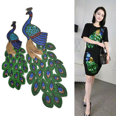 Peacock Pattern Patch Hand Craft Sewing Applique Sequin Paillette DIY Clothing