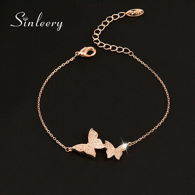 High Quality Micro Simulated Crystal Butterfly Bracelets Bangle For Women Sl386
