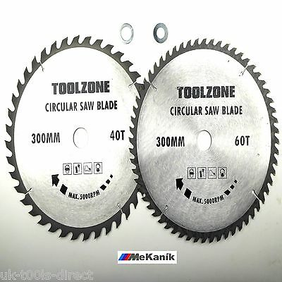 300MM TCT CIRCULAR SAW BLADES X 2PC  30MM 40t & 60t & ADAPTER RING