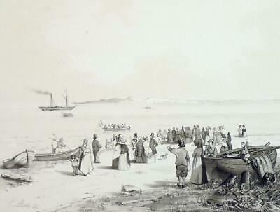 "HELGOLAND - ""Ankunft auf Helgoland"" - Tonlithographie 1842"