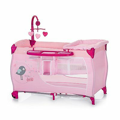 New Hauck Babycentre Playpen Travel cot+musical mobile in Pink Butterfly