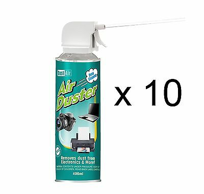 10 x 400ml Compressed Air Duster Cleaner Spray Can Canned Laptop Keyboard Mouse