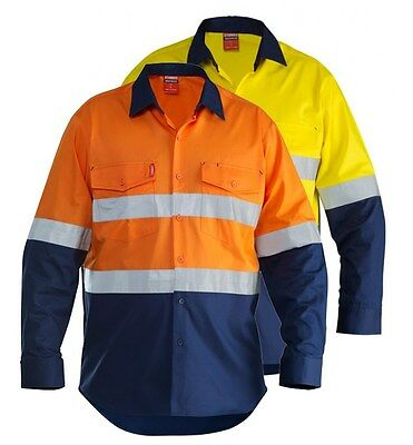 HI-VIS 2 TONE LONG SLEEVE STUBBIES WORK SHIRTS <PACK OF 2> w/ HOOP TAPE & VENTS
