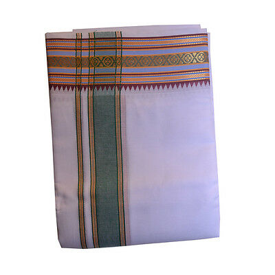 White Dhoti With Shawl In Pure Cotton #4