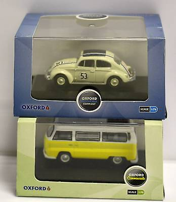 2 x Oxford Diecast Vehicles - VW Beetle & Camper - 1:76th (00) Scale - New