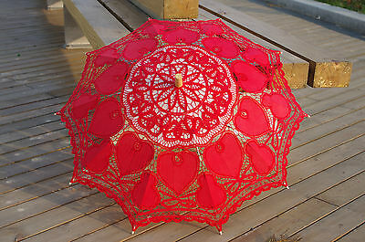 Battenburg Red Love Heart Lace Parasol Umbrella Wedding Bridal 30 Inch