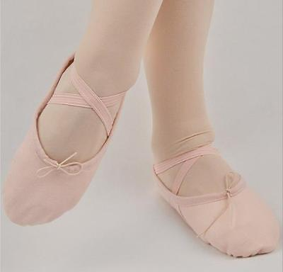 Cotton Comfort Children Girls Women Ballet Dance Shoes Split Sole Black Pink Tan