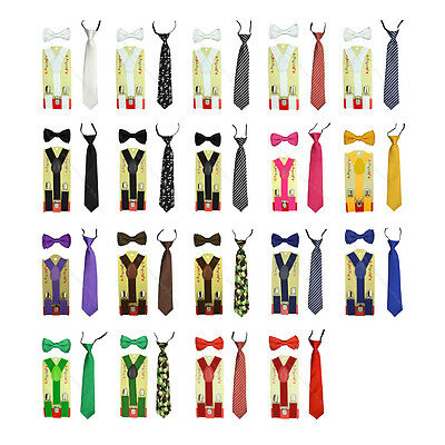 CUTE Baby Toddler Kids Children Boys Girls Suspender/Bowtie/Necktie 3 piece sets