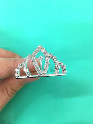 Set of 12 PC silver rhinestone princess tiny tiara / cupcake topper 1'x1.5'(USA