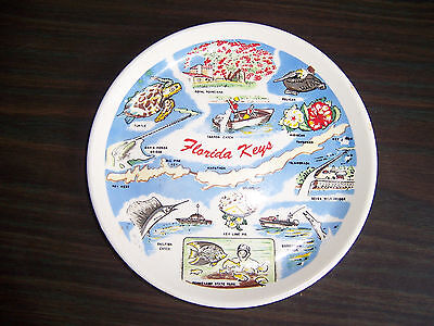 "Vintage souvenir small FLORIDA KEYS PLATE 1959-1960 porcelain 6"" colorful bridge"