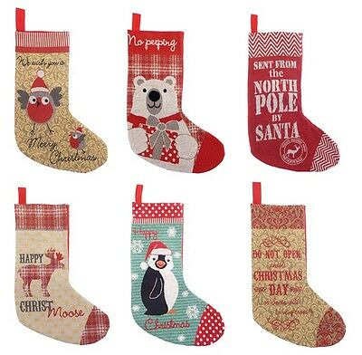 New Traditional Tapestry Design Christmas Xmas Stocking Sack