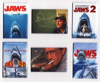 JAWS MOVIE POSTER FRIDGE MAGNETS (2 3 4 art print quint shark 1975 rare vintage)