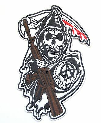 Sons Of Anarchy Iron On Patch- Skull TV Show Biker Reaper Badge Applique Sew
