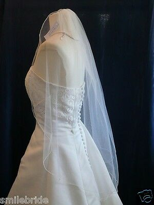 Wedding Veil Fingertip Length 1 Tier with Comb Soft Tulle White or Ivory