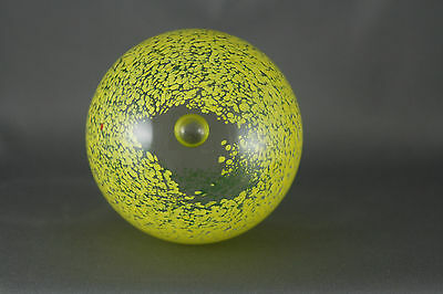 Controlled Bubble Glass Paperweight Yellow Green Signed MB Studio Art Glass