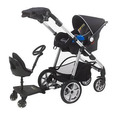 Mee-Go S Rider Universal Buggy Sit N Ride On Board with Seat & Steering Wheel