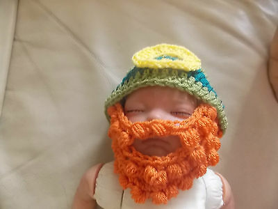Crochet baby leprechaun hat beard beanie photo props 0-3 3-6 6-9 plus styles