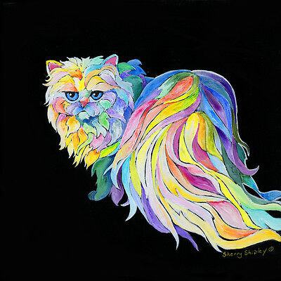 THE DiVA Persian Cat 12x12 Original Painting on stretched canvas Sherry Shipley