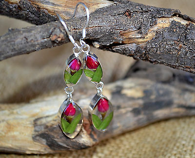 MEXICAN EARRINGS .925 Sterling Silver Pressed Natural Flowers Tulip Design