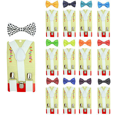 CUTE Baby Toddler Kids Boys Girls Polka dot Y-Back Elastic Suspender & Bow Tie